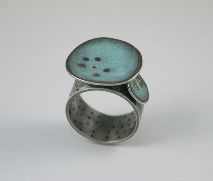 Ring by Caroline Finlay - enamel, silver.