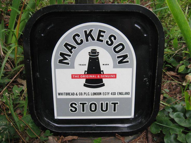 """Vintage Original Mackeson Stout Tray-Black w/ Lighthouse-12.75""""-Estate-Rare!!"""