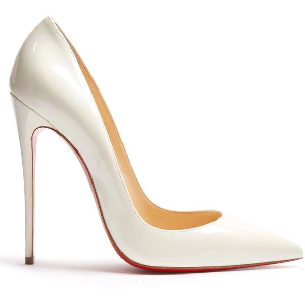Christian Louboutin So Kate 120mm pearlescent pumps (£475) ❤ liked on Polyvore featuring shoes, pumps, heels, white, heels stilettos, pointed toe pumps, pointy toe pumps, stiletto pumps and white stilettos