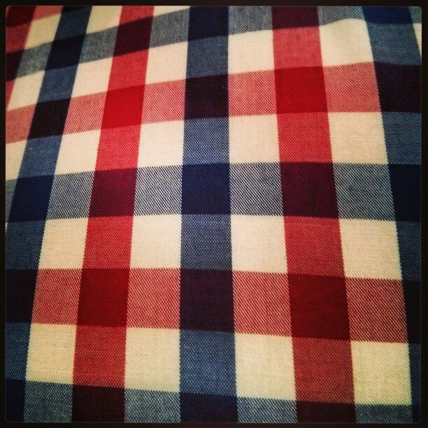 Red, blue and white gingham shirt - custom made