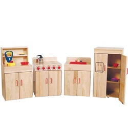 Wood Designs Heritage Maple Play Kitchen Set -  Each play kitchen set includes a play sink, play stove, play refrigerator, and play hutch constructed of solid maple with an exclusive Tuff-Gloss UV finish. These wooden kitchen playsets feature full length Pinch-Me-Not hinges and solid plastic door handles for added durability and safety.  [WD10020]