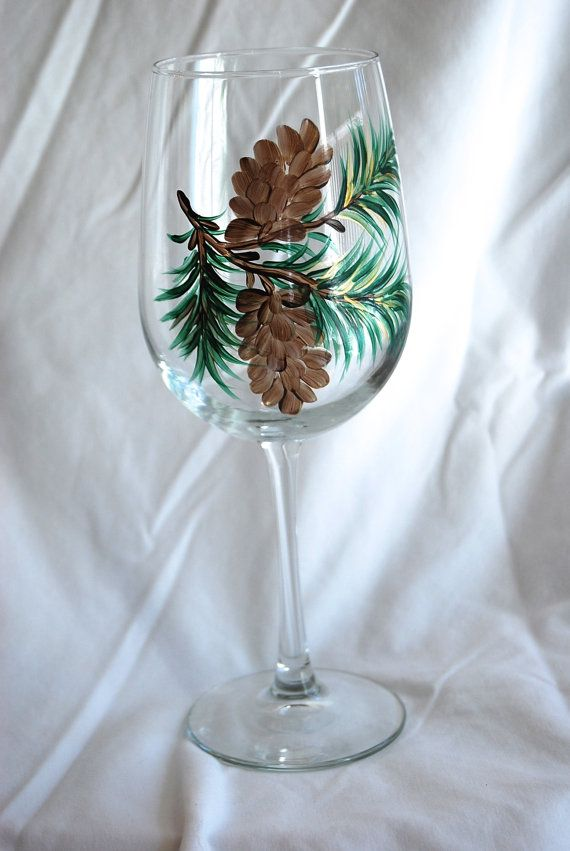 Hand painted wine glasses pine cones and evergreen by glasschris