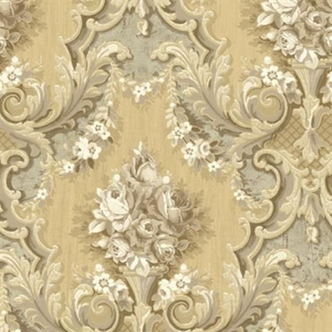 Gold Melissae Floral Damask Wallpaper, SBK26917