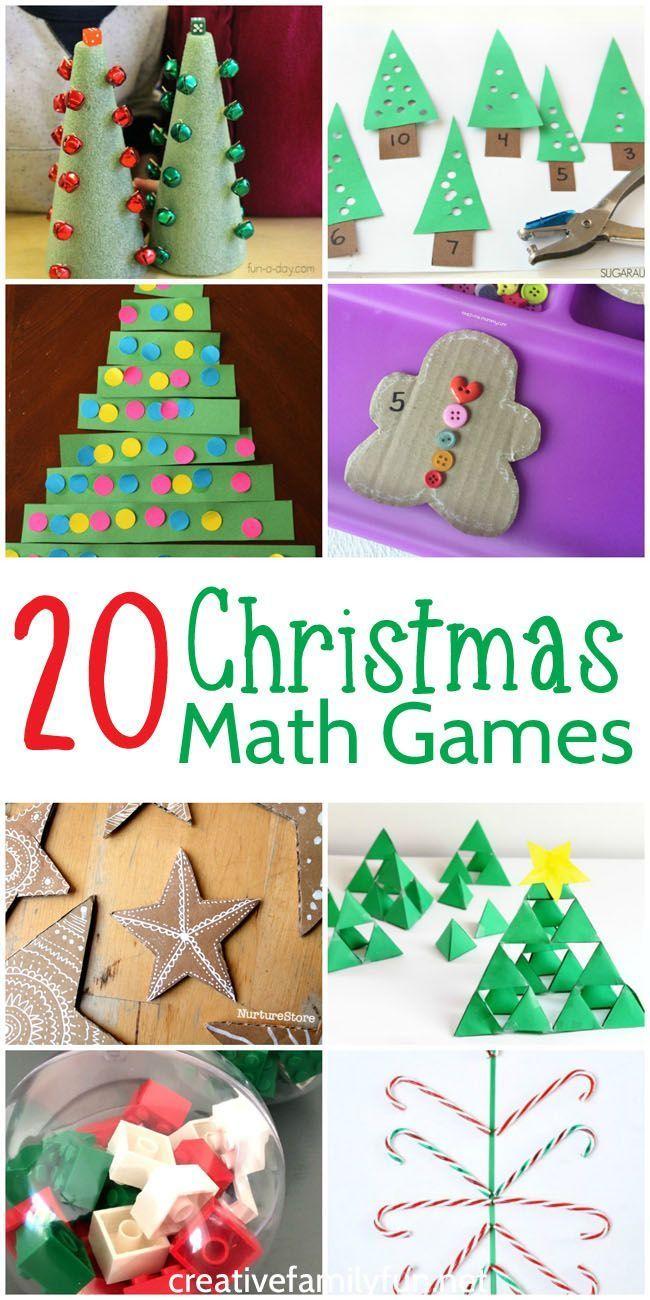 20 fun Christmas math games for preschool and elementary kids.