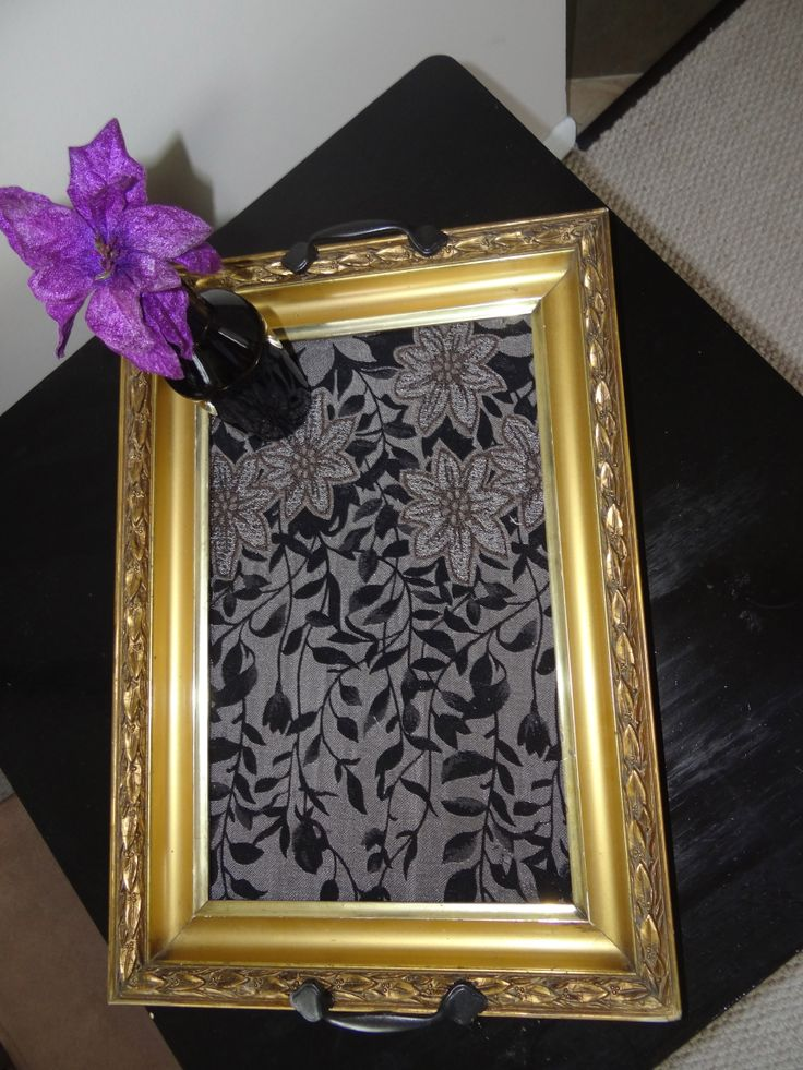 Diy tray put fabric around glass in picture frame add for Diy fabric picture frame