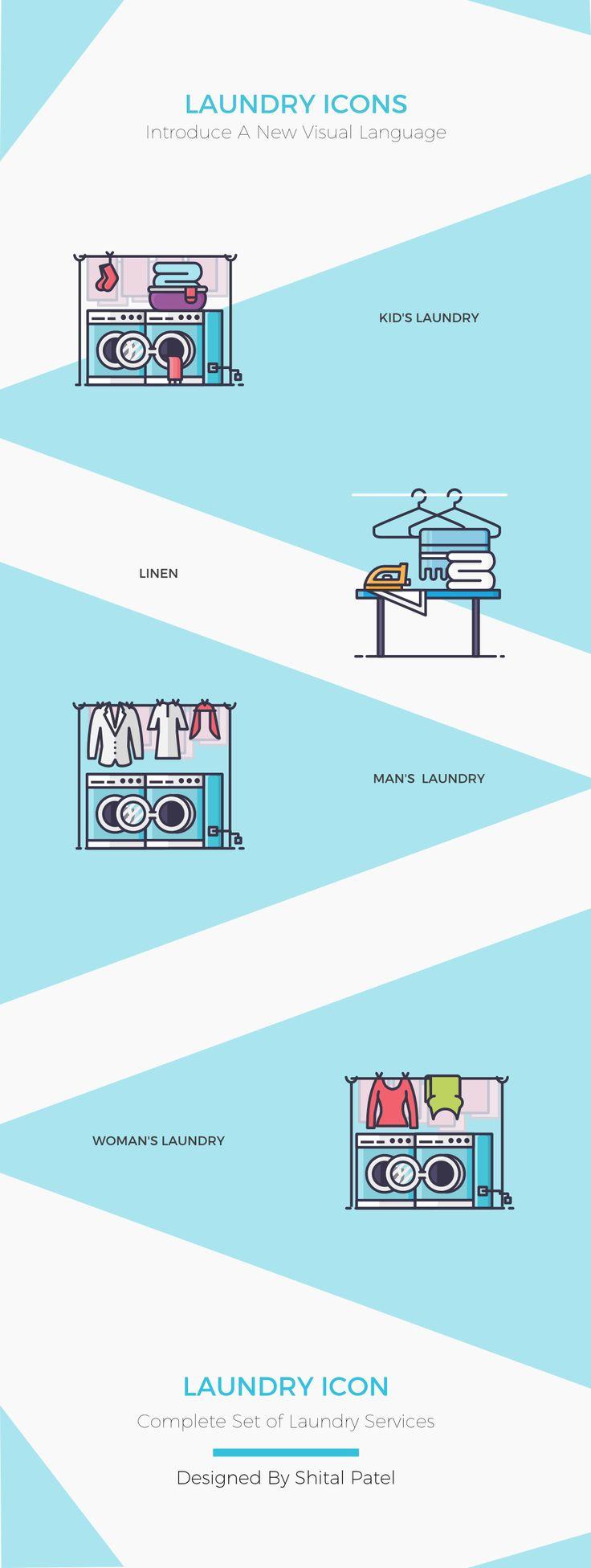 Laundry icons on Behance