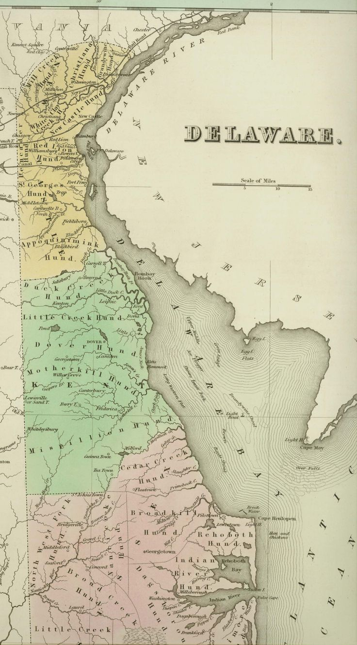 1838 Map of Delaware.  From the Map collections at the Delaware Public Archives.  www.archives.delaware.gov