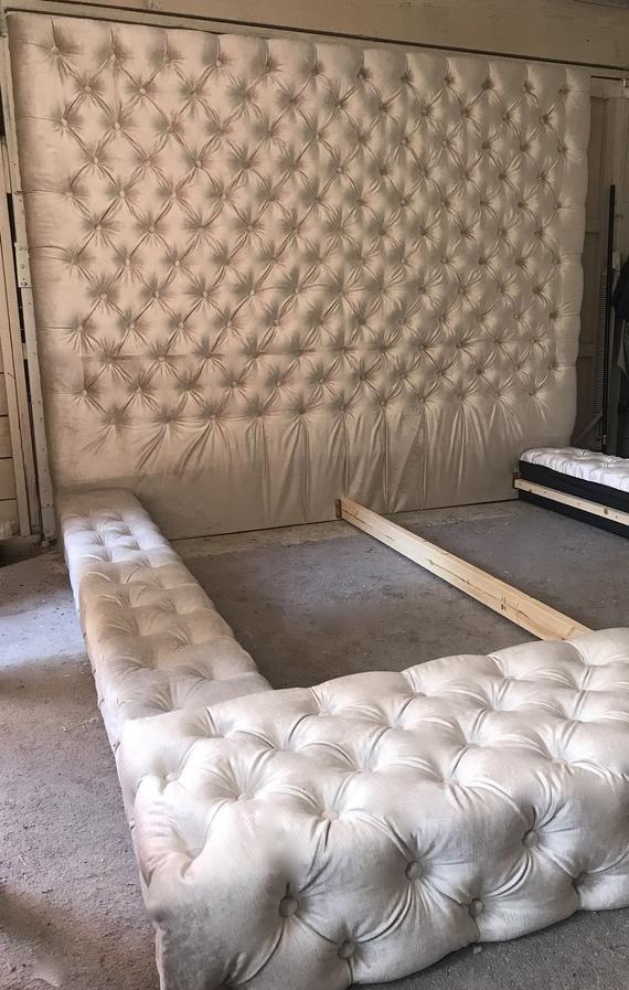 Velvet Diamond Tufted Oversized King Bed Etsy Tufted Bed Frame