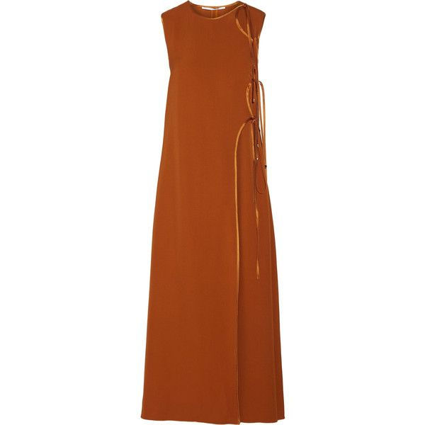 Rosetta Getty - Tie-front Satin-trimmed Canvas Maxi Dress (€495) ❤ liked on Polyvore featuring dresses, camel, wrap maxi dress, holiday dresses, ruffle cocktail dress, cocktail maxi dresses and evening maxi dresses