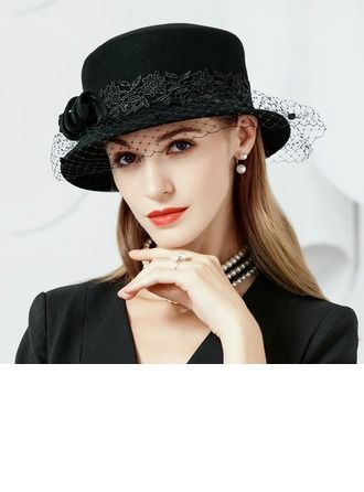 e95dcc10a10db Wool Tulle Bowler Cloche Hat Elegant Ladies  53-58 Hats  142398 ...