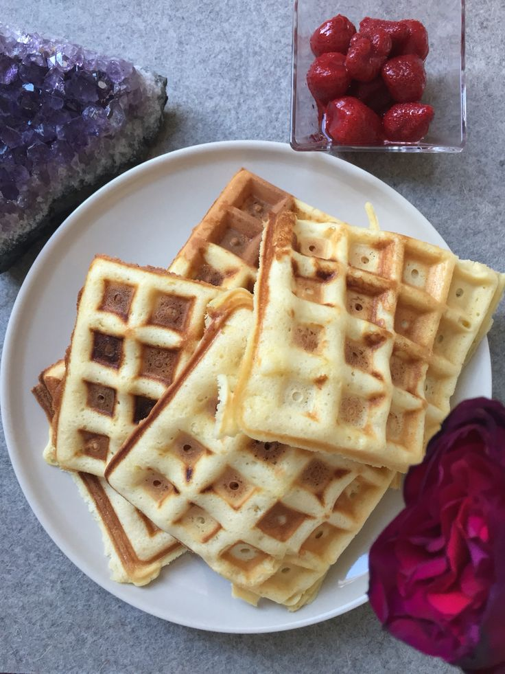 Enjoy your Sunday morning with waffles and strawberries