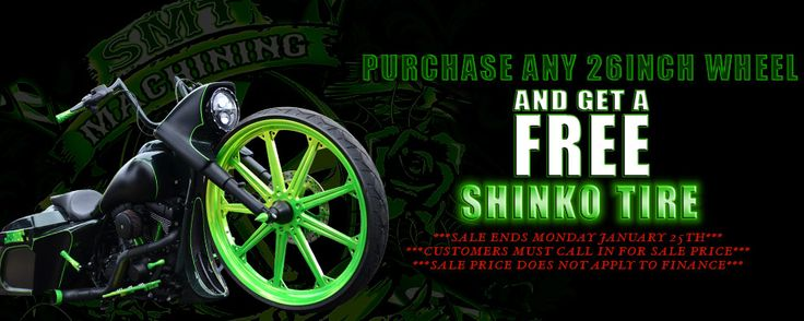 "Purchase any 26""wheel with and receive a free Shinko Tire!!!  #sale #smt #bigwheels #harley #honda #cruiser #bagger #victory"