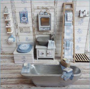 "••  Robin Betterley's Miniatures - Uncle Tubby's Bathroom Kit.  MEDIDAS PARA ESCALA DE 1/4"""