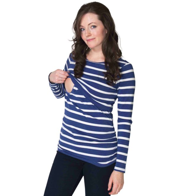 New collection is here! This charming maternity top has a nursing secret. Stripes win! You'll love this top!