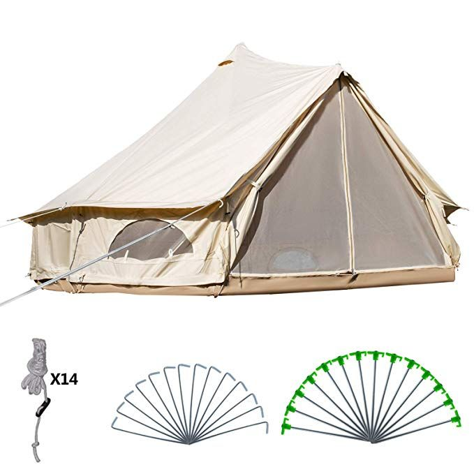 Happybuy Bell Tent 10 12 Persons Canvas Tent With Wall Stove Jacket Yurt Tents For Camping 4 Season Waterproof For Family Cam Canvas Bell Tent Tent Canvas Tent