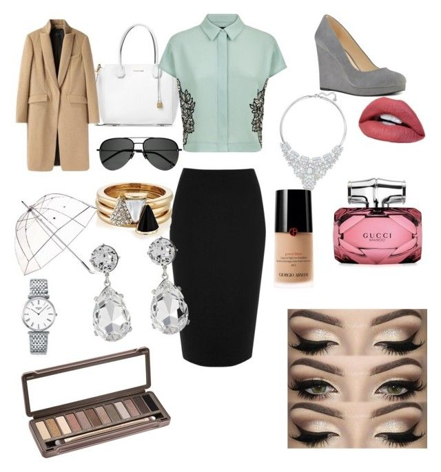 """""""Work attire"""" by awesomsyd on Polyvore featuring Michael Kors, River Island, Jaeger, rag & bone, Yves Saint Laurent, Totes, Brixton, Swarovski, Longines and Kenneth Jay Lane"""