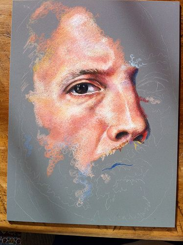 Colored Pencil Portraits | In-progress Colored Pencil portrait entitled Self Portrait VII