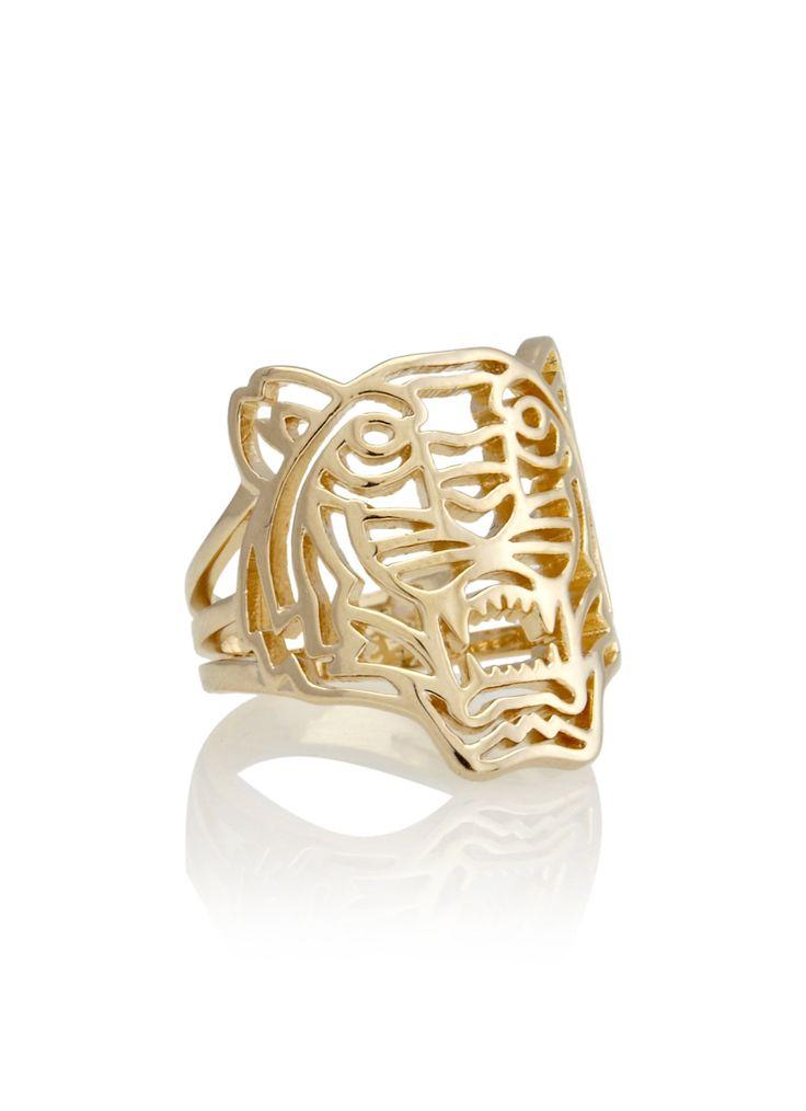 Kenzo's tijgermotief veroorzaakte flink wat mode furore dit seizoen, deze tijger ring maakt de fashionable look dan ook tot in de puntjes af. Coole en eigenzinnige ring, uitgevoerd met een gouden plating.