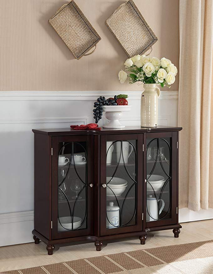 Kings Brand Furniture Wood Storage Sideboard Buffet Cabinet Console Table Cherry Review
