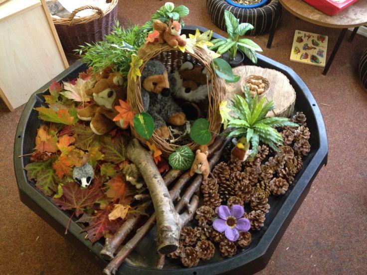 Autumn sensory tray with woodland animals