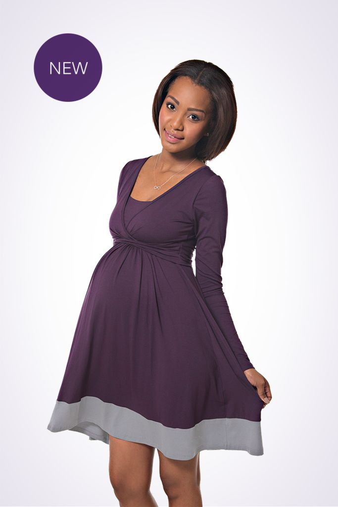 The NEW Lonzi&Bean UltiMum maternity and breastfeeding dress in Indigo-Grey
