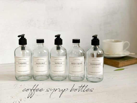 8oz Coffee Syrup Bottles Refillable Glass Syrup Bottles With Etsy In 2020 Coffee Syrup Syrup Bottle Syrup Labels