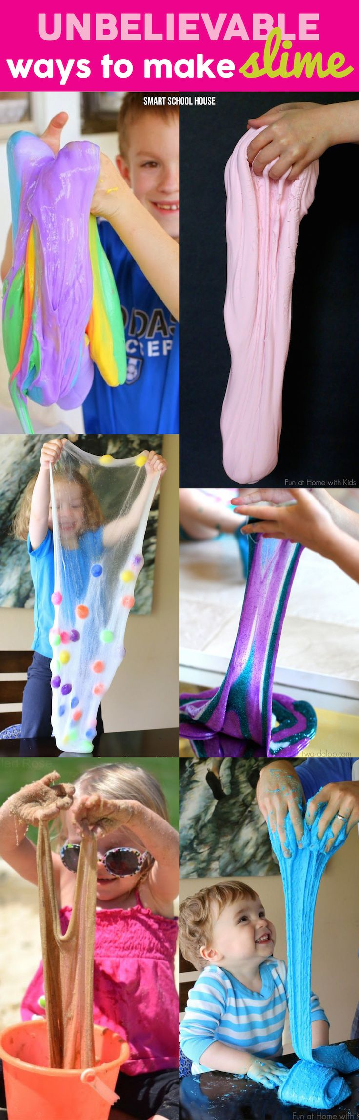 Ways to Make Slime: how to make rainbow slime, how to make edible slime, how to make sand slime, and more!