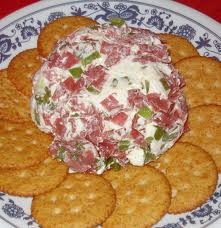 A FAMILY FAVORITE! CHIPPED BEEF  GREEN ONION CHEESE BALL (makes a HUGE ball) : 16 oz cream cheese, 2 packages chipped beef, 4 chopped green onions, 1/2 tsp worchestershire, 1/4 garlic powder- mix all ingredients together and form it into a ball, serve with crackers (OPTIONAL: roll in chopped pecans)