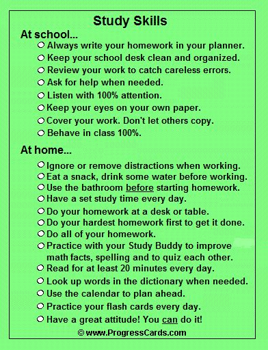Study Skills Progress Card- I love how you can print a small checklist to touch base on study habits