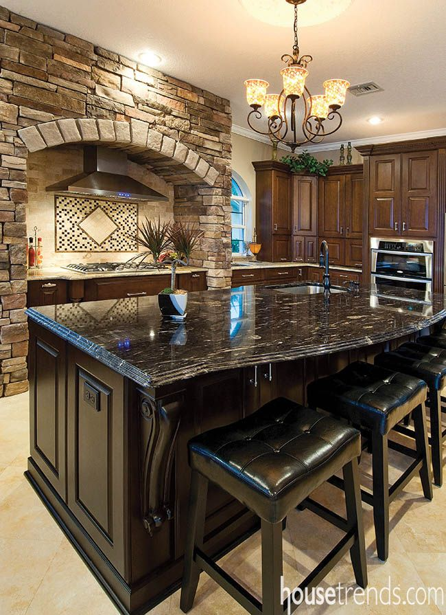 Kitchen Island Topped With Black Titanium Granite. #housetrends