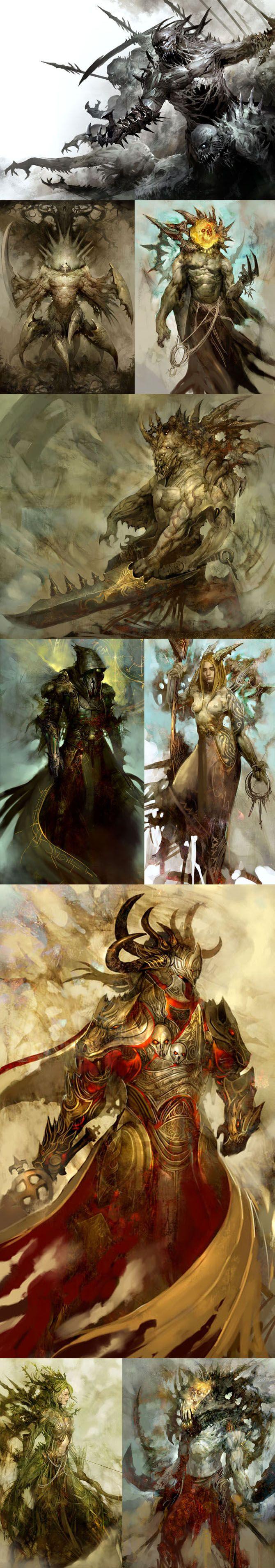 Awesome monsters for a Dark Fantasy scenario... (Kekai Kotaki) - courtesy of the design team of Guild Wars (GW concept art).