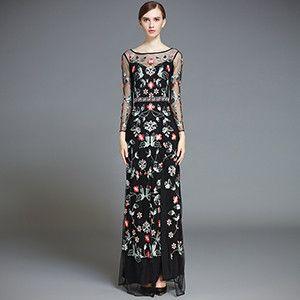 LD LINDA DELLA Runway Designer Maxi Dress Women's High Quality Sexy Split Voile Floral Flower Embroidered Long Dress