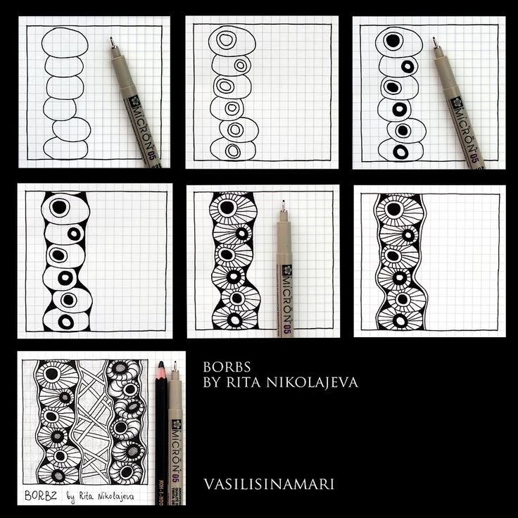 "VASILISINAMARI zentangle tutorial pattern ""BORBS"""