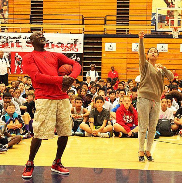 Michael Jordan Wearing Jordan 4 at camp  9cd5b311b