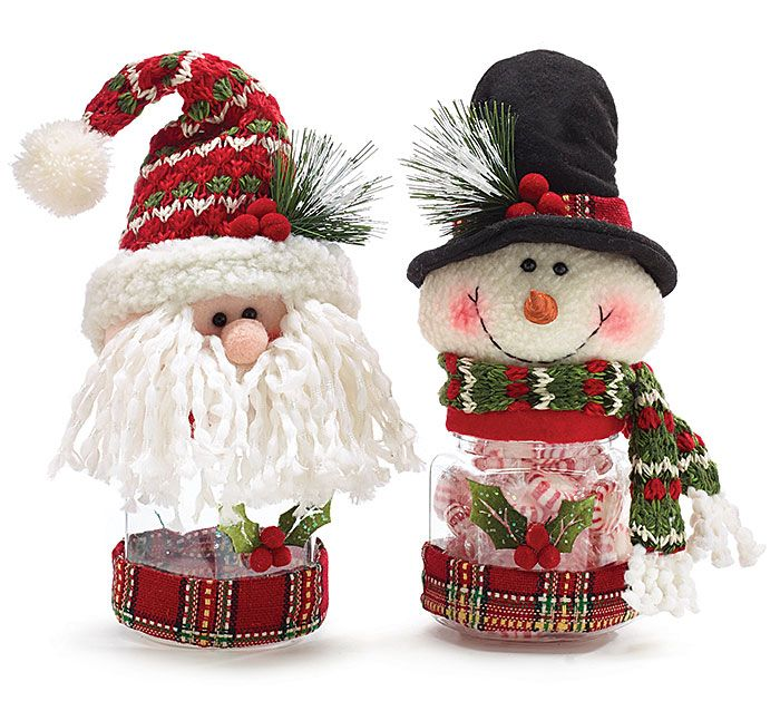 "#burtonandburton Handwash only/FDA approved.<br>Santa and Snowman plush with octagon-shaped acrylic candy holders. Santa is wearing a red/green knit hat with pompom. Snowman is wearing a black top hat with a red/green knit scarf. Both with red plaid material around bottom of jar.<br><br>9 1/4""H X 3 1/2""W X 3 1/2""D X 2 1/2""Opening<br>3 assortments of 2."