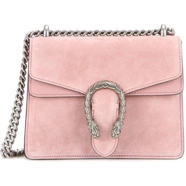 Gucci Dionysus Mini Suede Shoulder Bag (£1,285) ❤ liked on Polyvore featuring bags, handbags, shoulder bags, pink, pink shoulder bag, gucci purses, mini handbags, suede purse and suede handbags
