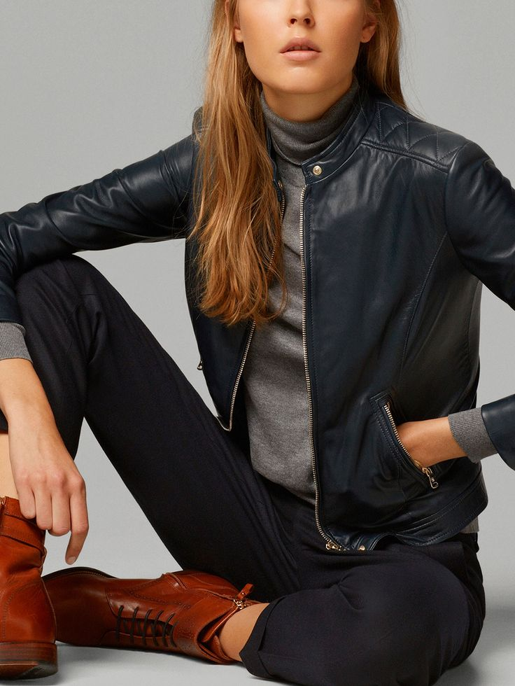 LEATHER JACKET by Massimo Dutti