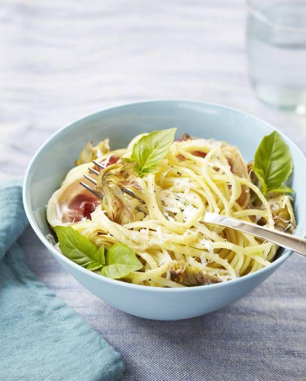 Pâtes aux artichauts et pancetta pour 4 personnes - Recettes Elle à Table