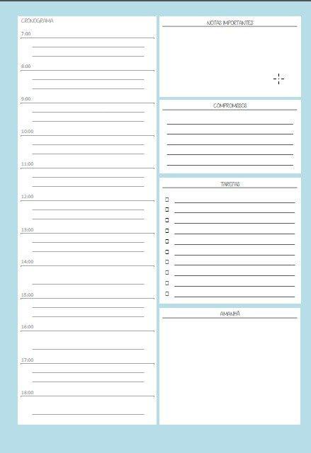 Agenda diária para imprimir – cores sólidas   PRINT FOR FUN
