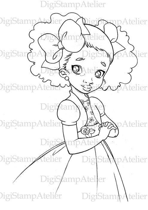 Black Girl 1. INSTANT DOWNLOAD Digital Digi Stamps.