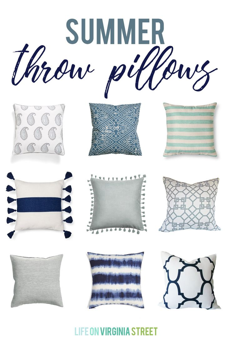 A collection of the cutest and most stylish summer throw pillows. Many of which are under $25! Love the stripes, tassels, and graphic patterns on these blue, navy and white pillows.