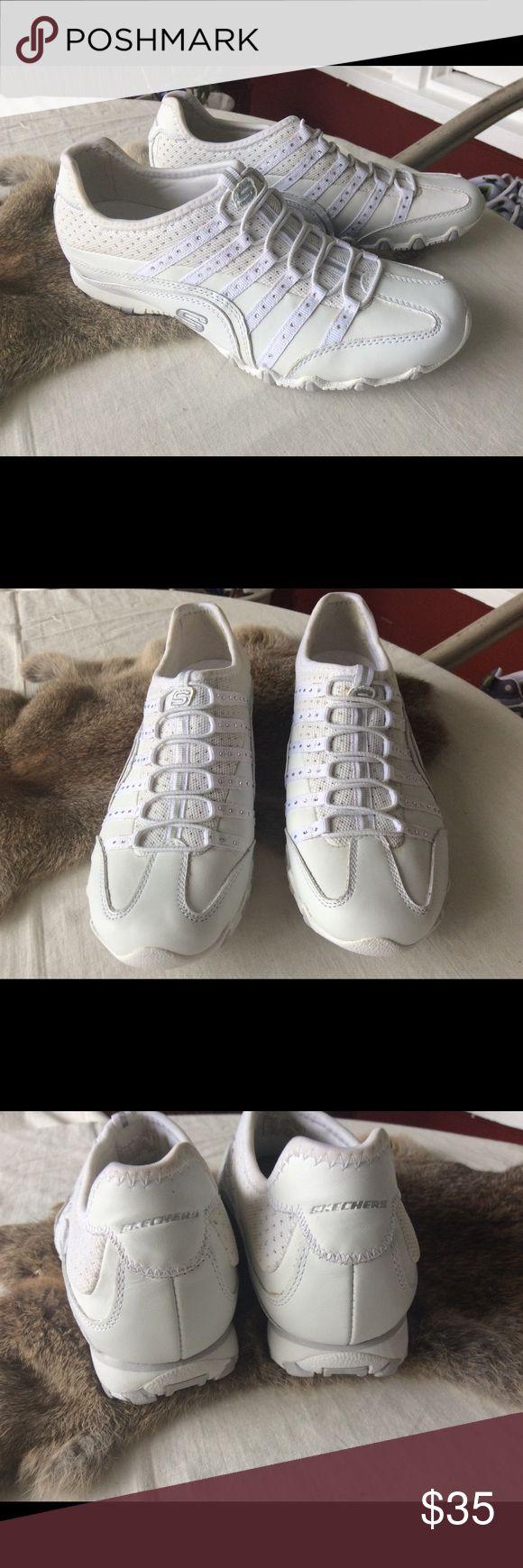 Skechers Slip on Sneakers New Crystal embellishments.  Leather upper. Skechers Shoes Sneakers