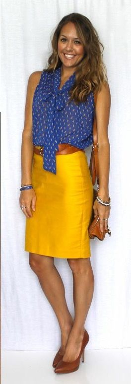 Color blocking with yellow and leather ...and blue...inspired