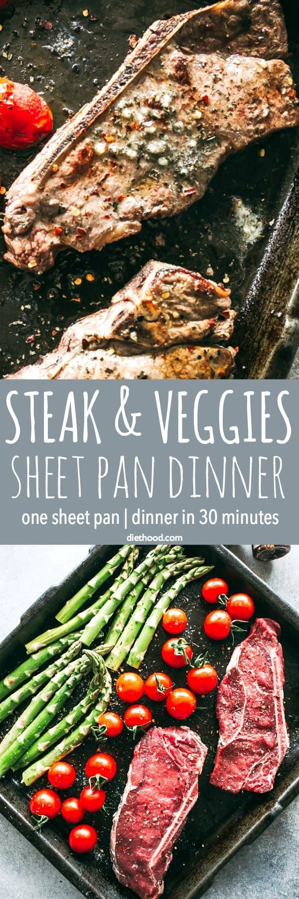 Steak and Veggies Sheet Pan Dinner – Perfectly seasoned sirloin steak, tender asparagus, and cherry tomatoes prepared together on just one sheet pan. SO easy and SO darn delicious!