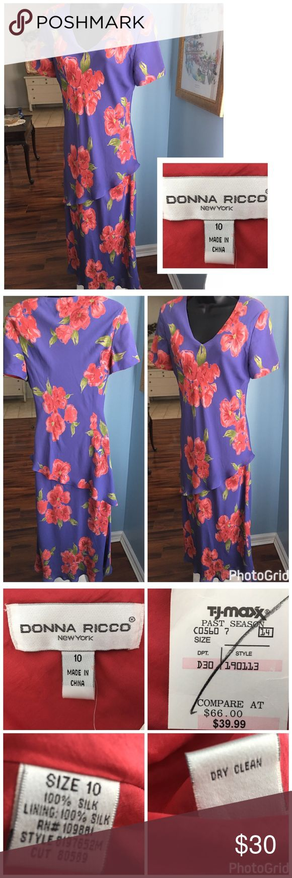 "Donna Ricco Dress Beautiful Donna Ricco Silk Dress. Free flowing lined dress with shoulder pads. Measures 18"" across the chest and 52"" in length. Bought but never worn. Donna Ricco Dresses"