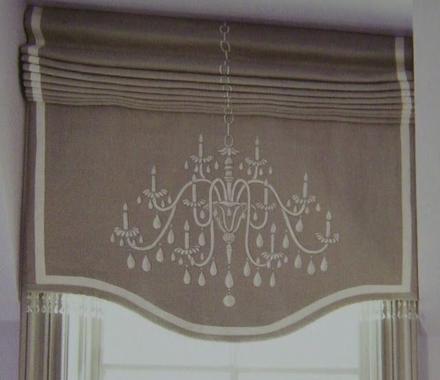 Roman Shade w/Chandelier motif - Swarovski crystals on bottom edge of shade