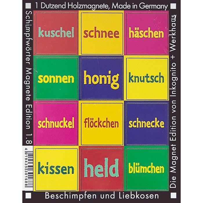 Kosenamen-Magnete zum Liebhaben und Beschimpfen.