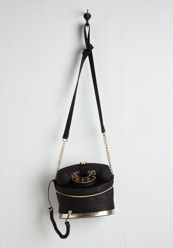 That's What I Call Cool Bag. You give new meaning to accessorizing with rings when you model this vegan faux-leather purse by Betsey Johnson - arriving at ModCloth in September! #black #modcloth