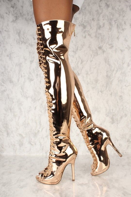 9b997e18379a Sexy Mirror Rose Gold Peep Toe High Heels Thigh High Boots Patent