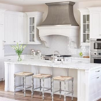 White and Gray Kitchen with Zinc French Kitchen Hood